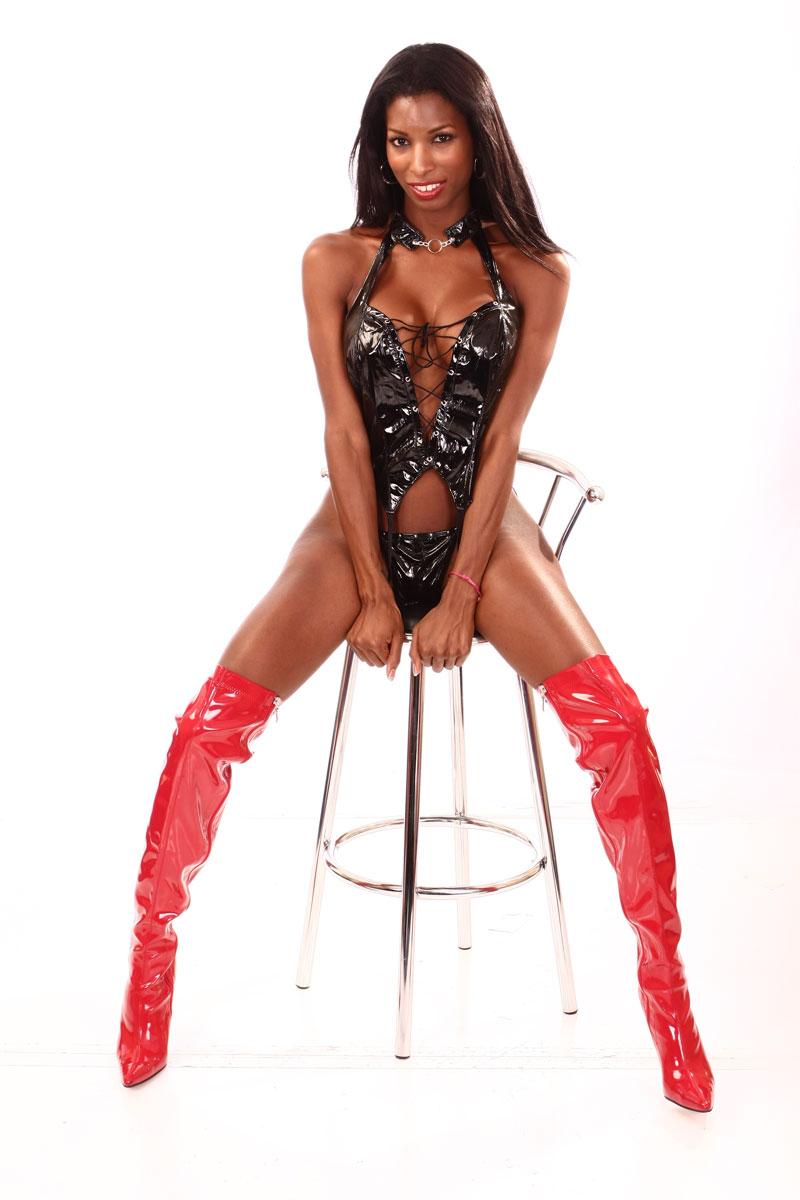 Natassia Dreams latex shemale model